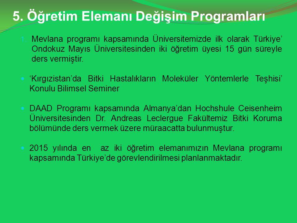 5.Öğretim Elemanı Değişim Programları 1.