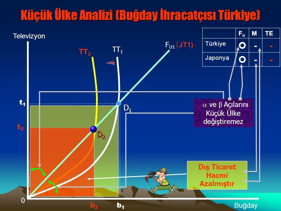Küçük Ülke β Açısını Değiştiremez Küçük Ülke Analizi (Buğday İhracatçısı Türkiye) 0 Televizyon Buğday t1t1 TT 1 F U1 (JT 1 ) D1D1D1D1 b1b1 D2D2D2D2 Küçük Ülke  Açısını değiştiremez Dış Ticaret Hacmi Artmıştır b2b2 t2t2 FuFu MTE Türkiye ++ Japonya ++ TT 2