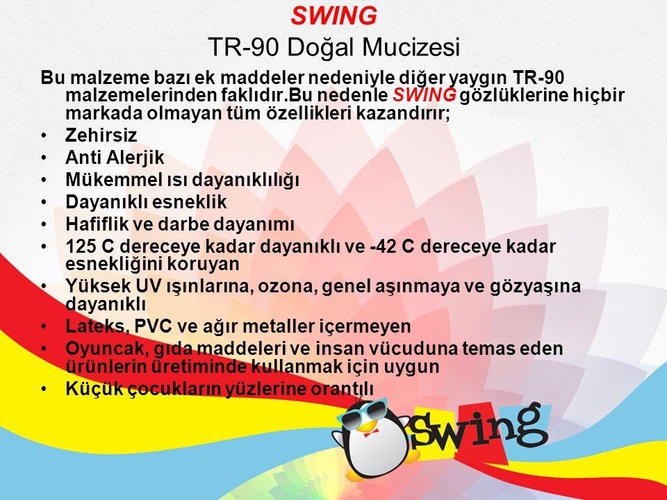 SWING TR-90 Doğal Mucizesi Bu malzeme bazı ek maddeler nedeniyle diğer yaygın TR-90 malzemelerinden faklıdır.Bu nedenle SWING gözlüklerine hiçbir mark