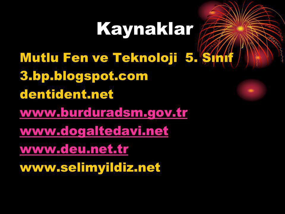 Kaynaklar Mutlu Fen ve Teknoloji 5. Sınıf 3.bp.blogspot.com dentident.net www.burduradsm.gov.tr www.dogaltedavi.net www.deu.net.tr www.selimyildiz.net