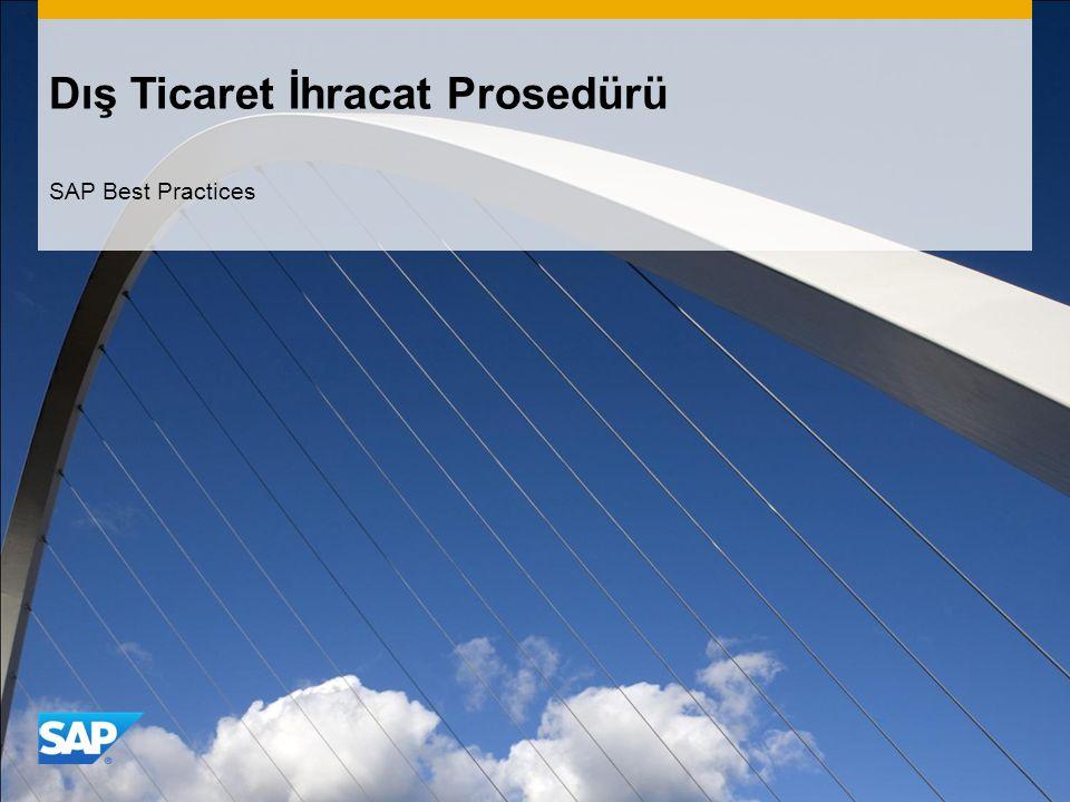 Dış Ticaret İhracat Prosedürü SAP Best Practices