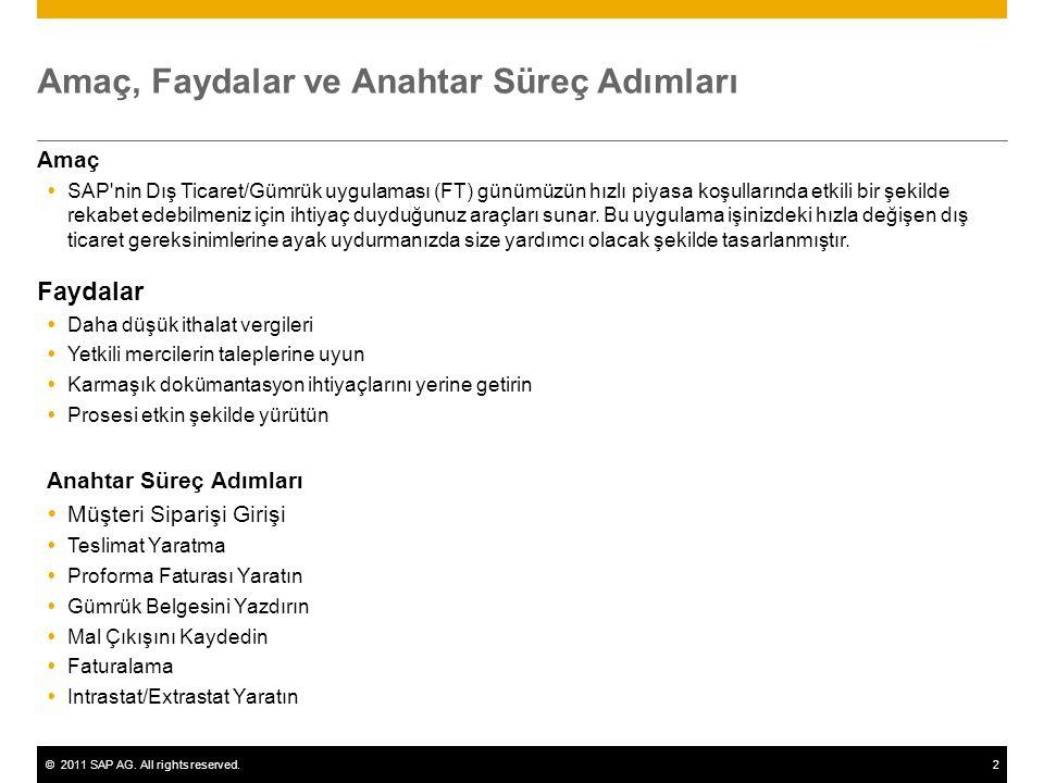 ©2011 SAP AG. All rights reserved.2 Amaç, Faydalar ve Anahtar Süreç Adımları Amaç  SAP'nin Dış Ticaret/Gümrük uygulaması (FT) günümüzün hızlı piyasa
