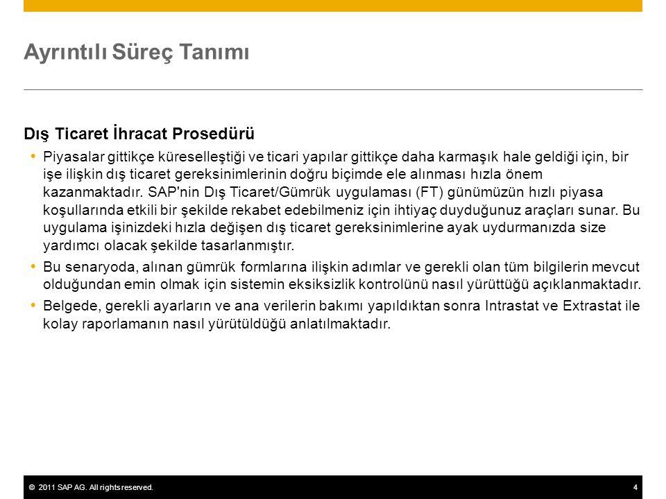 ©2011 SAP AG. All rights reserved.4 Ayrıntılı Süreç Tanımı Dış Ticaret İhracat Prosedürü  Piyasalar gittikçe küreselleştiği ve ticari yapılar gittikç