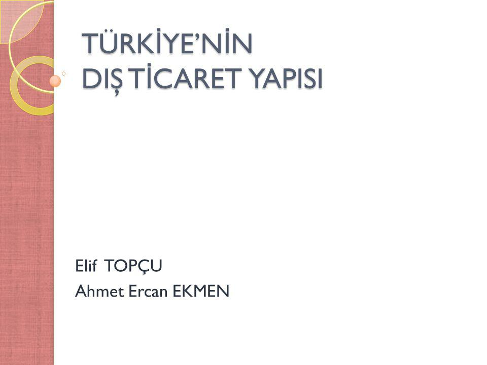 TÜRK İ YE'N İ N DIŞ T İ CARET YAPISI Elif TOPÇU Ahmet Ercan EKMEN