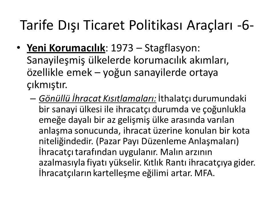 Tarife Dışı Ticaret Politikası Araçları -6- Yeni Korumacılık: 1973 – Stagflasyon: Sanayileşmiş ülkelerde korumacılık akımları, özellikle emek – yoğun