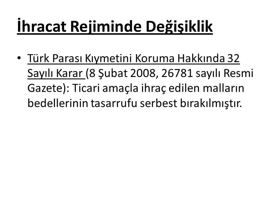 İhracat Rejiminde Değişiklik Türk Parası Kıymetini Koruma Hakkında 32 Sayılı Karar (8 Şubat 2008, 26781 sayılı Resmi Gazete): Ticari amaçla ihraç edil