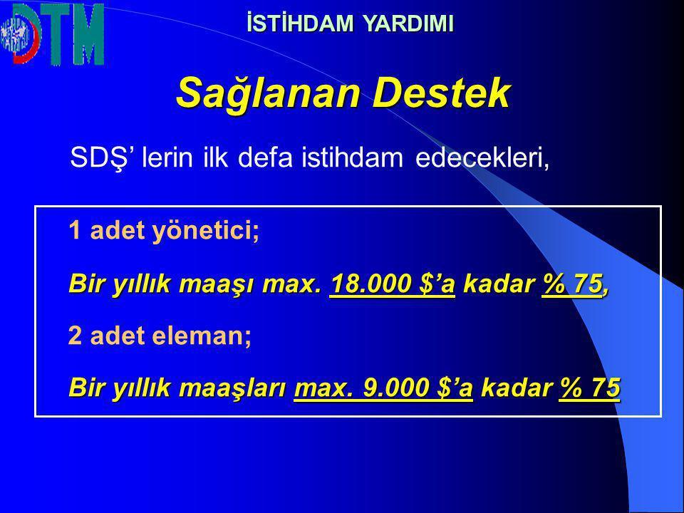 Sağlanan Destek 1 adet yönetici; Bir yıllık maaşı max. 18.000 $'a kadar % 75, 2 adet eleman; Bir yıllık maaşları max. 9.000 $'a kadar % 75 SDŞ' lerin