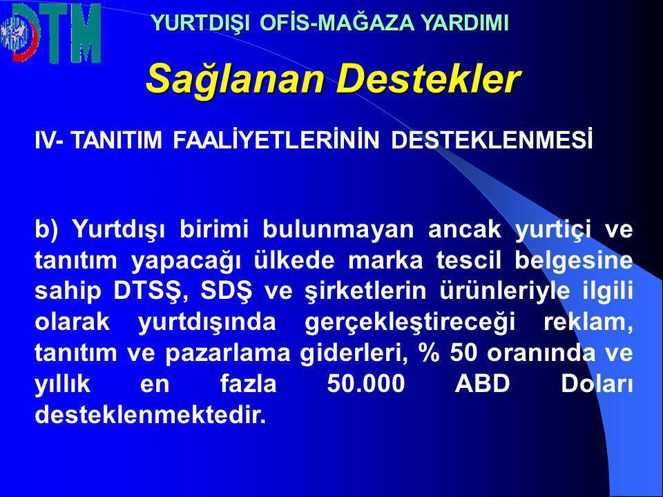 Sağlanan Destekler YURTDIŞI OFİS-MAĞAZA YARDIMI IV- TANITIM FAALİYETLERİNİN DESTEKLENMESİ b) Yurtdışı birimi bulunmayan ancak yurtiçi ve tanıtım yapac