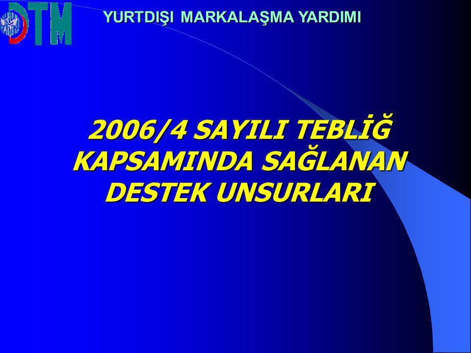 2006/4 SAYILI TEBLİĞ KAPSAMINDA SAĞLANAN DESTEK UNSURLARI YURTDIŞI MARKALAŞMA YARDIMI