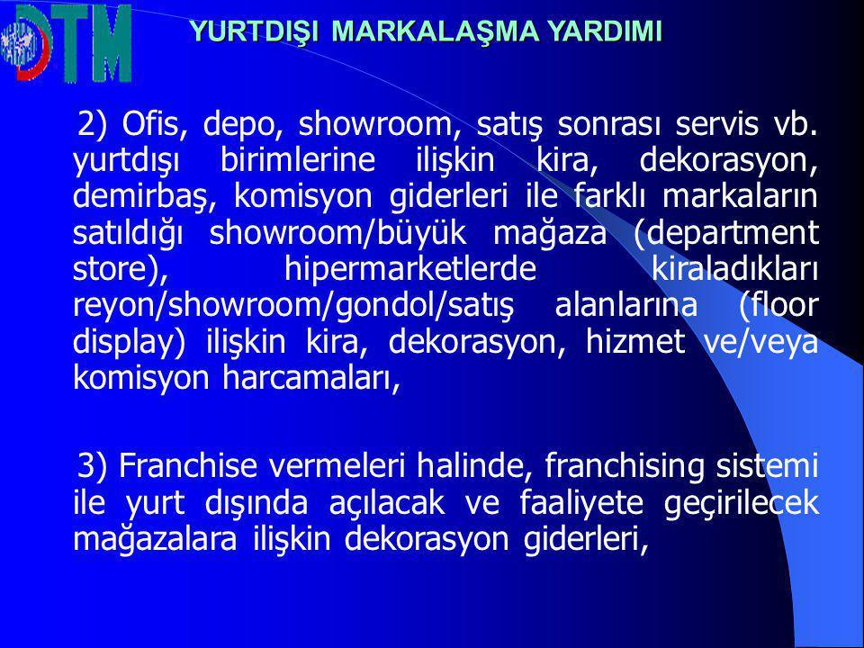 2) Ofis, depo, showroom, satış sonrası servis vb. yurtdışı birimlerine ilişkin kira, dekorasyon, demirbaş, komisyon giderleri ile farklı markaların sa