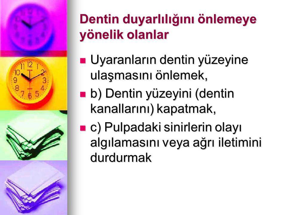 Dentin duyarlılığını önlemeye yönelik olanlar Uyaranların dentin yüzeyine ulaşmasını önlemek, Uyaranların dentin yüzeyine ulaşmasını önlemek, b) Dentin yüzeyini (dentin kanallarını) kapatmak, b) Dentin yüzeyini (dentin kanallarını) kapatmak, c) Pulpadaki sinirlerin olayı algılamasını veya ağrı iletimini durdurmak c) Pulpadaki sinirlerin olayı algılamasını veya ağrı iletimini durdurmak