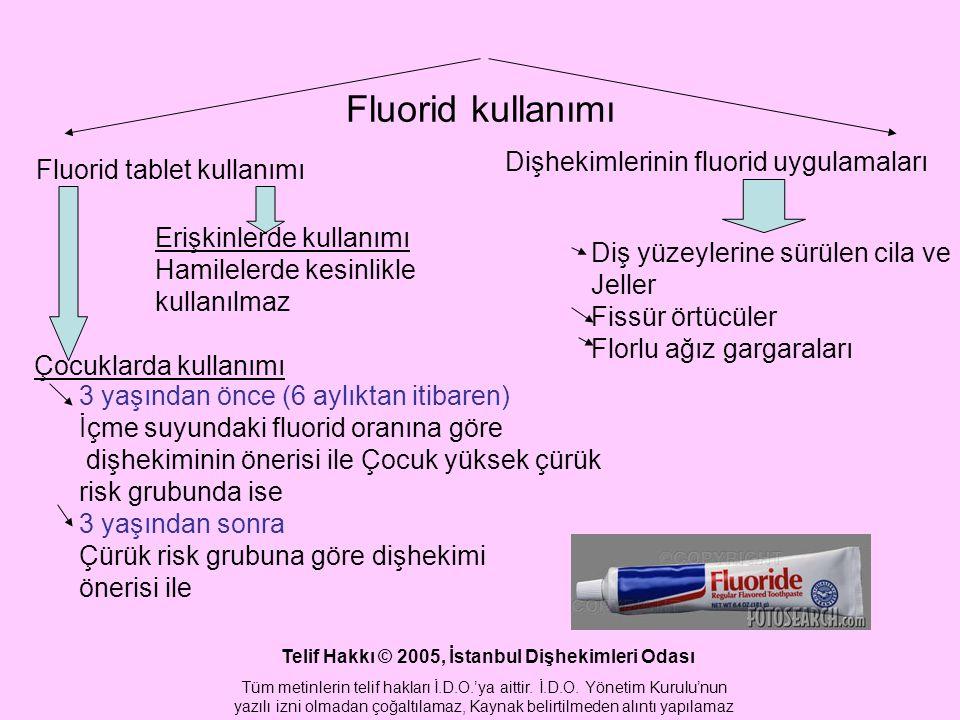 Fluorid kullanımı Fluorid tablet kullanımı Dişhekimlerinin fluorid uygulamaları Erişkinlerde kullanımı Hamilelerde kesinlikle kullanılmaz Çocuklarda kullanımı 3 yaşından önce (6 aylıktan itibaren) İçme suyundaki fluorid oranına göre dişhekiminin önerisi ile Çocuk yüksek çürük risk grubunda ise 3 yaşından sonra Çürük risk grubuna göre dişhekimi önerisi ile Diş yüzeylerine sürülen cila ve Jeller Fissür örtücüler Florlu ağız gargaraları Telif Hakkı © 2005, İstanbul Dişhekimleri Odası Tüm metinlerin telif hakları İ.D.O.'ya aittir.