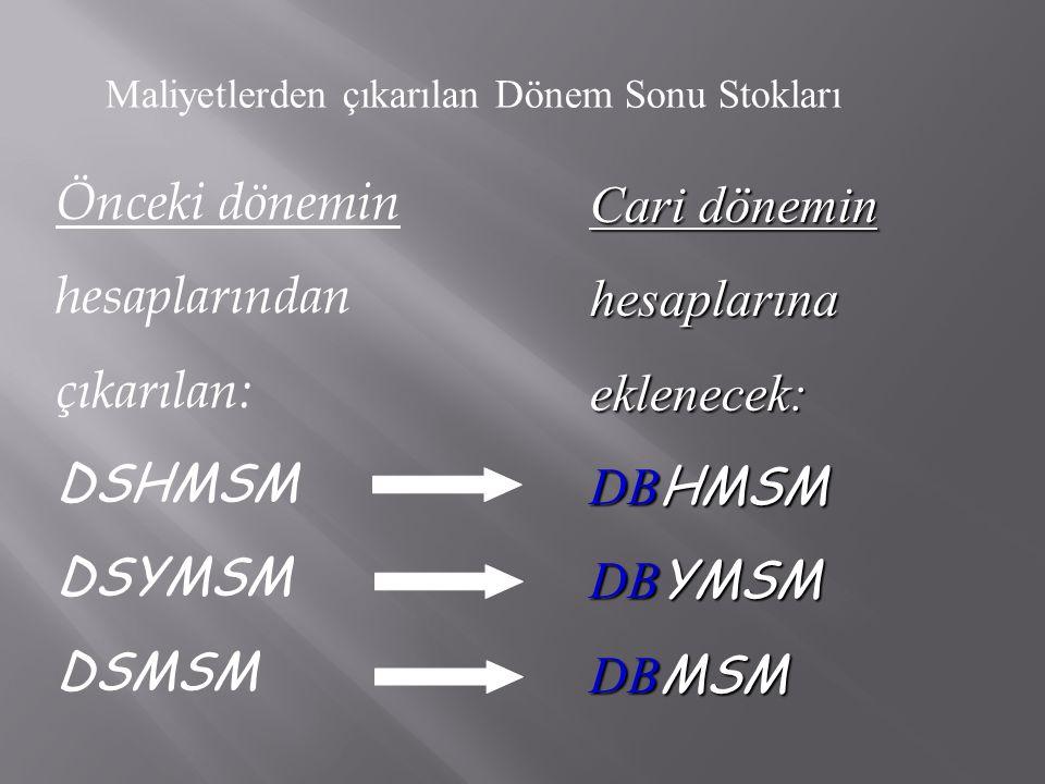Önceki dönemin hesaplarından çıkarılan: DSHMSM DSYMSM DSMSM Cari dönemin hesaplarına eklenecek: DB HMSM DB YMSM DB MSM Maliyetlerden çıkarılan Dönem S