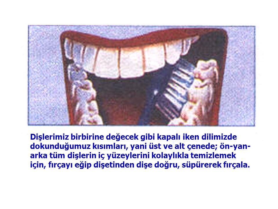 Diş fırçasını, dişlerin çiğneme yüzeylerinin üzerine yerleştir. Dişlerin çiğneme yüzeylerini, ileri-geri fırçalayarak, alt ve üst çenede yan ve arka t