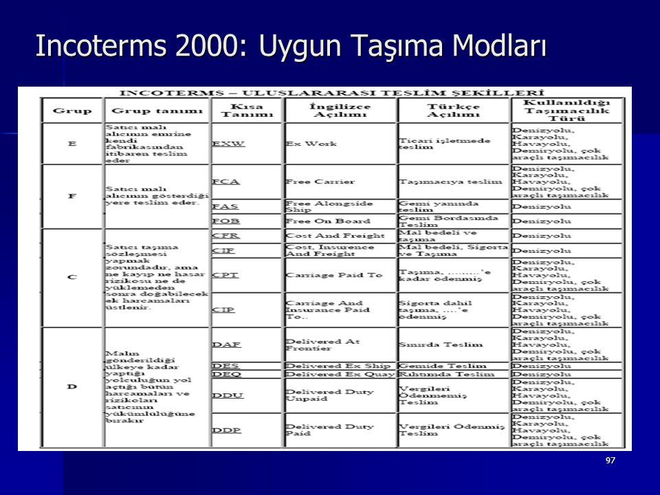 97 Incoterms 2000: Uygun Taşıma Modları