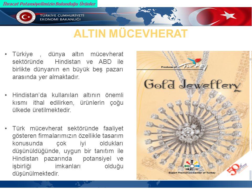 Türkiye, dünya altın mücevherat sektöründe Hindistan ve ABD ile birlikte dünyanın en büyük beş pazarı arasında yer almaktadır.
