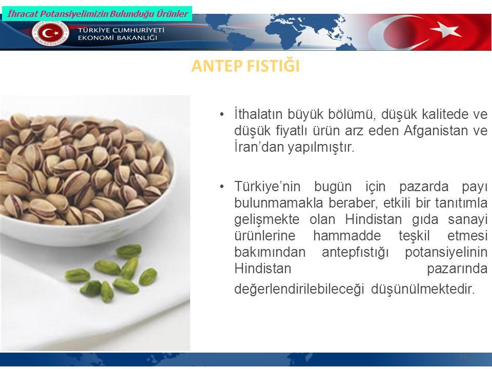 34 ANTEP FISTIĞI İthalatın büyük bölümü, düşük kalitede ve düşük fiyatlı ürün arz eden Afganistan ve İran'dan yapılmıştır.