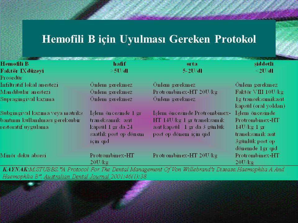 Hemofili A için Uyulması Gereken Protokol