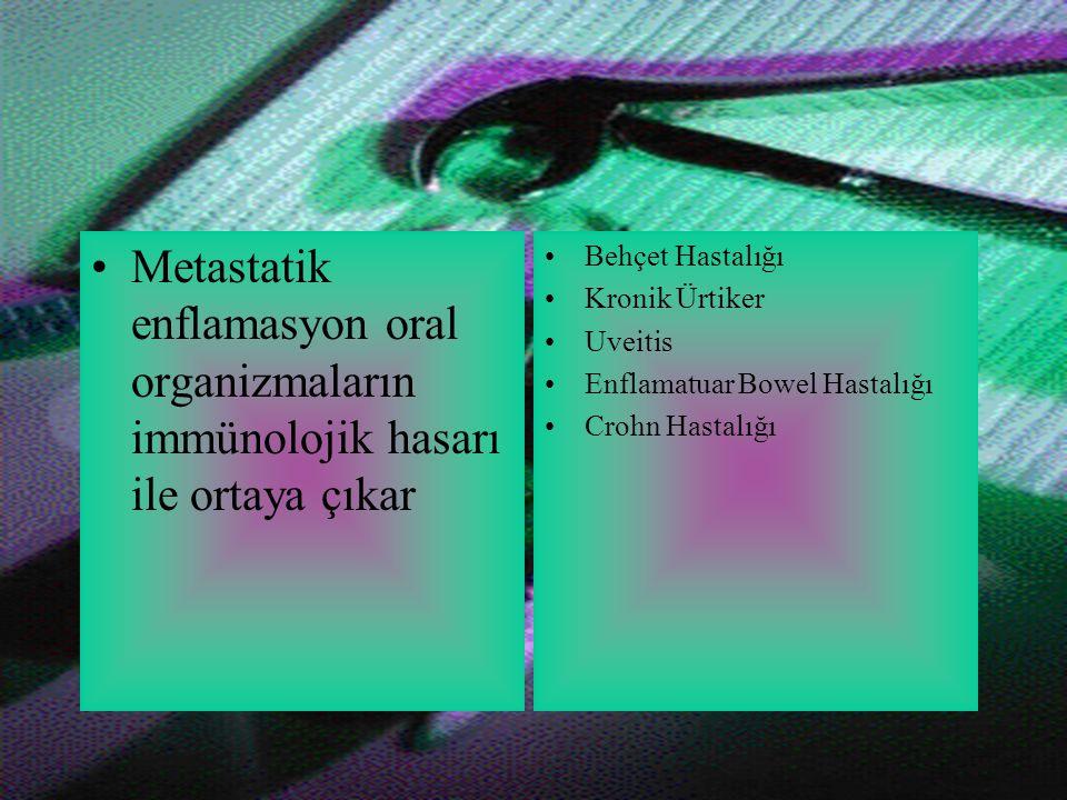 Metastatik enflamasyon oral organizmaların immünolojik hasarı ile ortaya çıkar Behçet Hastalığı Kronik Ürtiker Uveitis Enflamatuar Bowel Hastalığı Crohn Hastalığı