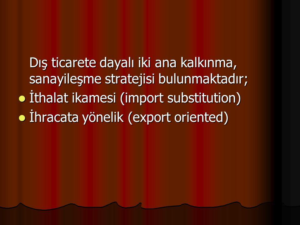 Dış ticarete dayalı iki ana kalkınma, sanayileşme stratejisi bulunmaktadır; İthalat ikamesi (import substitution) İthalat ikamesi (import substitution) İhracata yönelik (export oriented) İhracata yönelik (export oriented)
