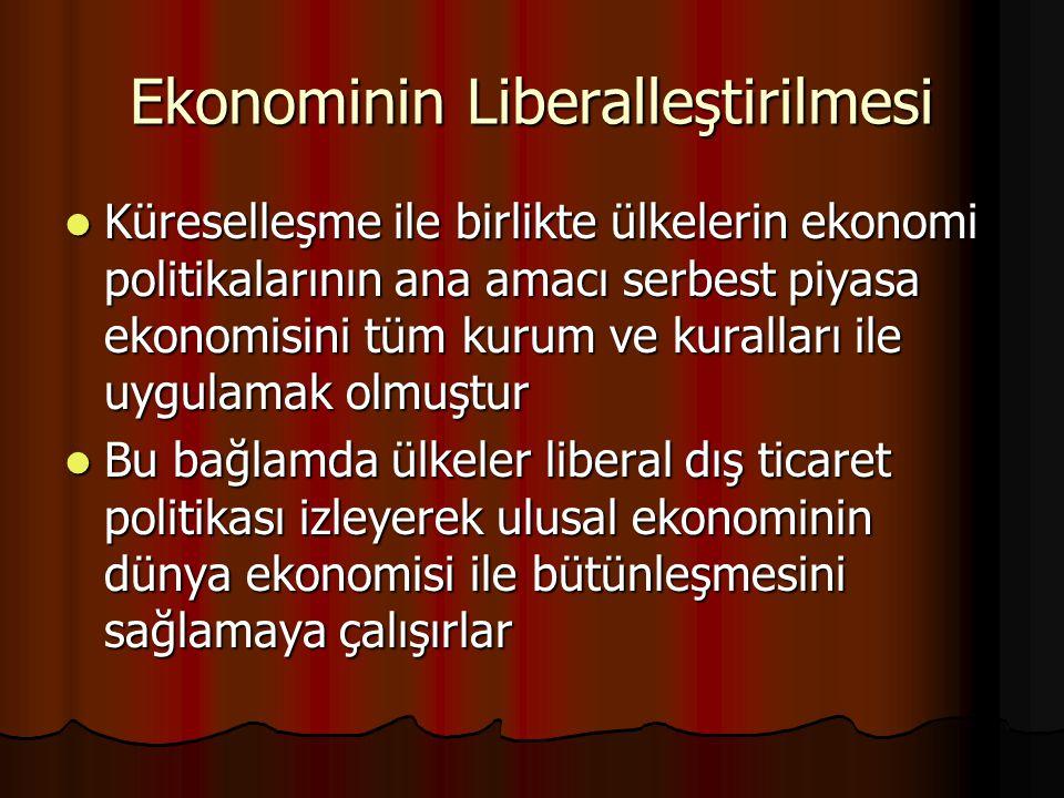 Ekonominin Liberalleştirilmesi Küreselleşme ile birlikte ülkelerin ekonomi politikalarının ana amacı serbest piyasa ekonomisini tüm kurum ve kuralları