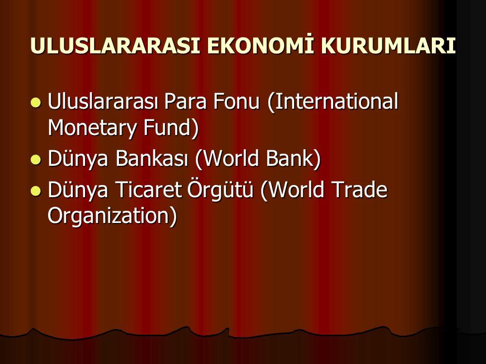 ULUSLARARASI EKONOMİ KURUMLARI Uluslararası Para Fonu (International Monetary Fund) Uluslararası Para Fonu (International Monetary Fund) Dünya Bankası (World Bank) Dünya Bankası (World Bank) Dünya Ticaret Örgütü (World Trade Organization) Dünya Ticaret Örgütü (World Trade Organization)