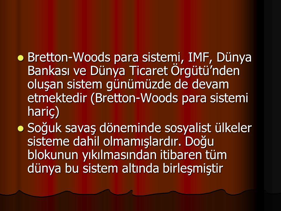 Bretton-Woods para sistemi, IMF, Dünya Bankası ve Dünya Ticaret Örgütü'nden oluşan sistem günümüzde de devam etmektedir (Bretton-Woods para sistemi hariç) Bretton-Woods para sistemi, IMF, Dünya Bankası ve Dünya Ticaret Örgütü'nden oluşan sistem günümüzde de devam etmektedir (Bretton-Woods para sistemi hariç) Soğuk savaş döneminde sosyalist ülkeler sisteme dahil olmamışlardır.