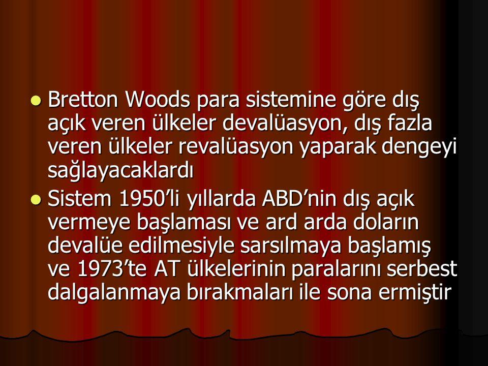 Bretton Woods para sistemine göre dış açık veren ülkeler devalüasyon, dış fazla veren ülkeler revalüasyon yaparak dengeyi sağlayacaklardı Bretton Wood