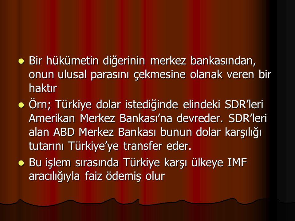 Bir hükümetin diğerinin merkez bankasından, onun ulusal parasını çekmesine olanak veren bir haktır Bir hükümetin diğerinin merkez bankasından, onun ulusal parasını çekmesine olanak veren bir haktır Örn; Türkiye dolar istediğinde elindeki SDR'leri Amerikan Merkez Bankası'na devreder.