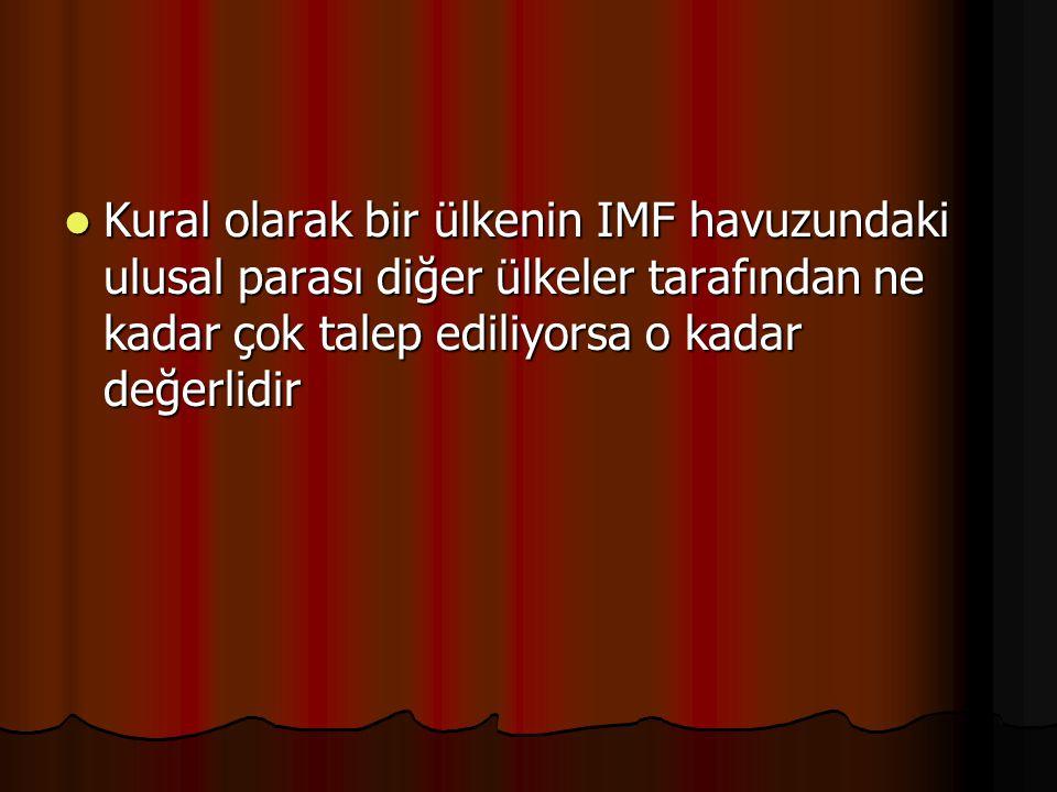 Kural olarak bir ülkenin IMF havuzundaki ulusal parası diğer ülkeler tarafından ne kadar çok talep ediliyorsa o kadar değerlidir Kural olarak bir ülkenin IMF havuzundaki ulusal parası diğer ülkeler tarafından ne kadar çok talep ediliyorsa o kadar değerlidir