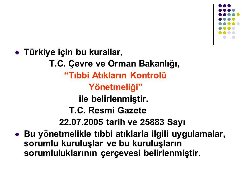 """Türkiye için bu kurallar, T.C. Çevre ve Orman Bakanlığı, """"Tıbbi Atıkların Kontrolü Yönetmeliği"""" ile belirlenmiştir. T.C. Resmi Gazete 22.07.2005 tarih"""