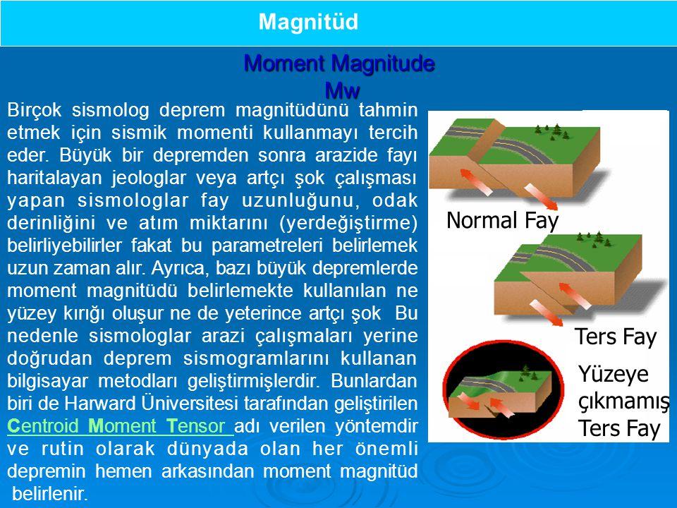 Birçok sismolog deprem magnitüdünü tahmin etmek için sismik momenti kullanmayı tercih eder.