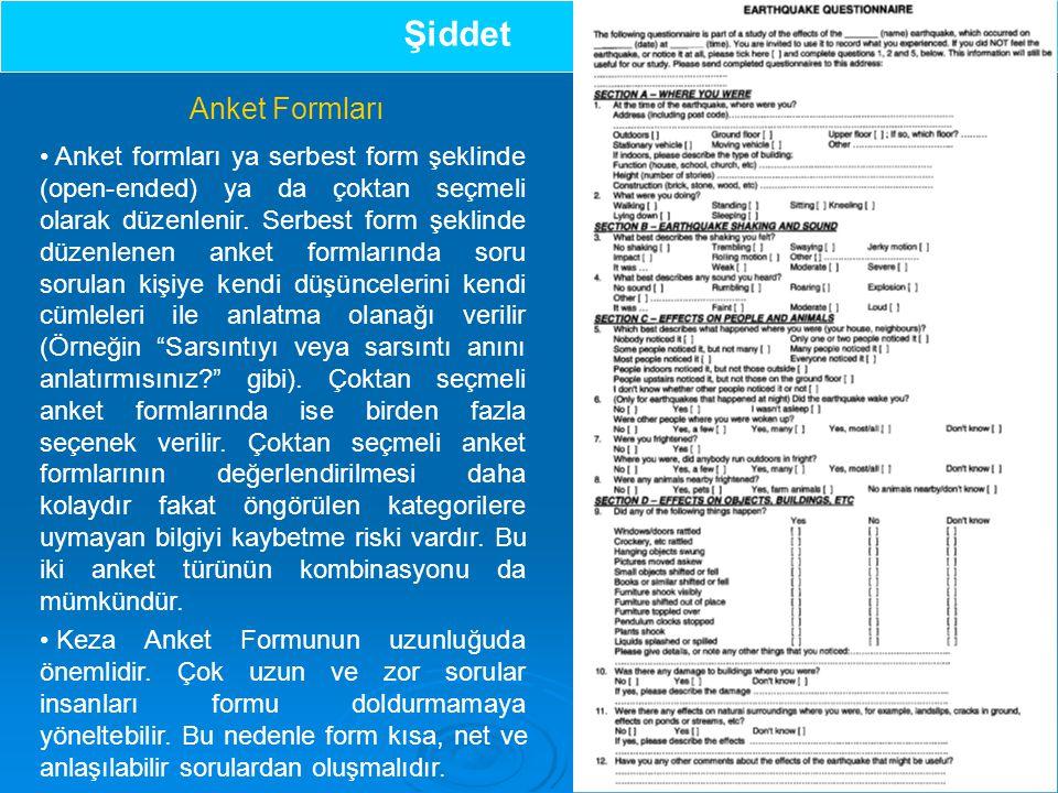 Anket formları ya serbest form şeklinde (open-ended) ya da çoktan seçmeli olarak düzenlenir.