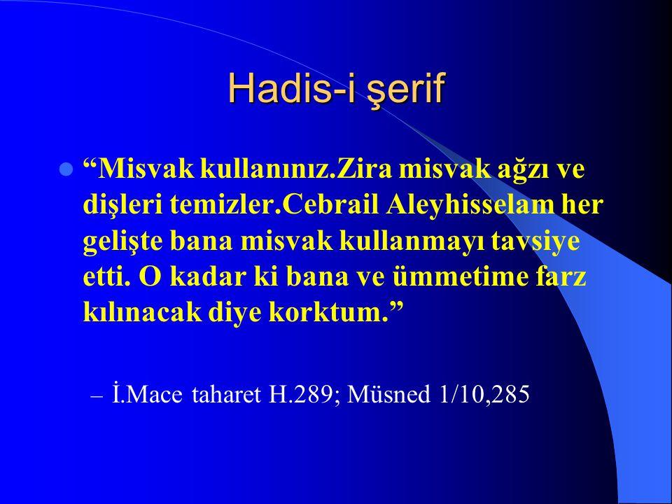 Hadis-i şerif Şüphesiz ki ağızlarınız Kuran'ın yollarıdır.