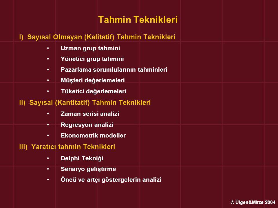 Tahmin Teknikleri I) Sayısal Olmayan (Kalitatif) Tahmin Teknikleri Uzman grup tahmini Yönetici grup tahmini Pazarlama sorumlularının tahminleri Müşteri değerlemeleri Tüketici değerlemeleri II) Sayısal (Kantitatif) Tahmin Teknikleri Zaman serisi analizi Regresyon analizi Ekonometrik modeller III) Yaratıcı tahmin Teknikleri Delphi Tekniği Senaryo geliştirme Öncü ve artçı göstergelerin analizi © Ülgen&Mirze 2004