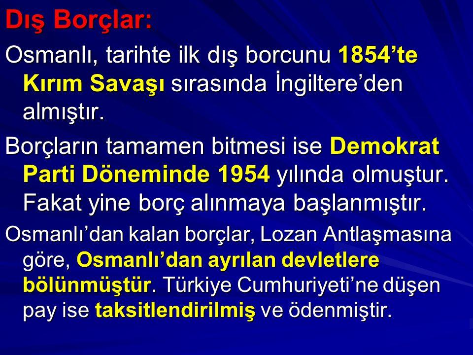 Dış Borçlar: Osmanlı, tarihte ilk dış borcunu 1854'te Kırım Savaşı sırasında İngiltere'den almıştır. Borçların tamamen bitmesi ise Demokrat Parti Döne