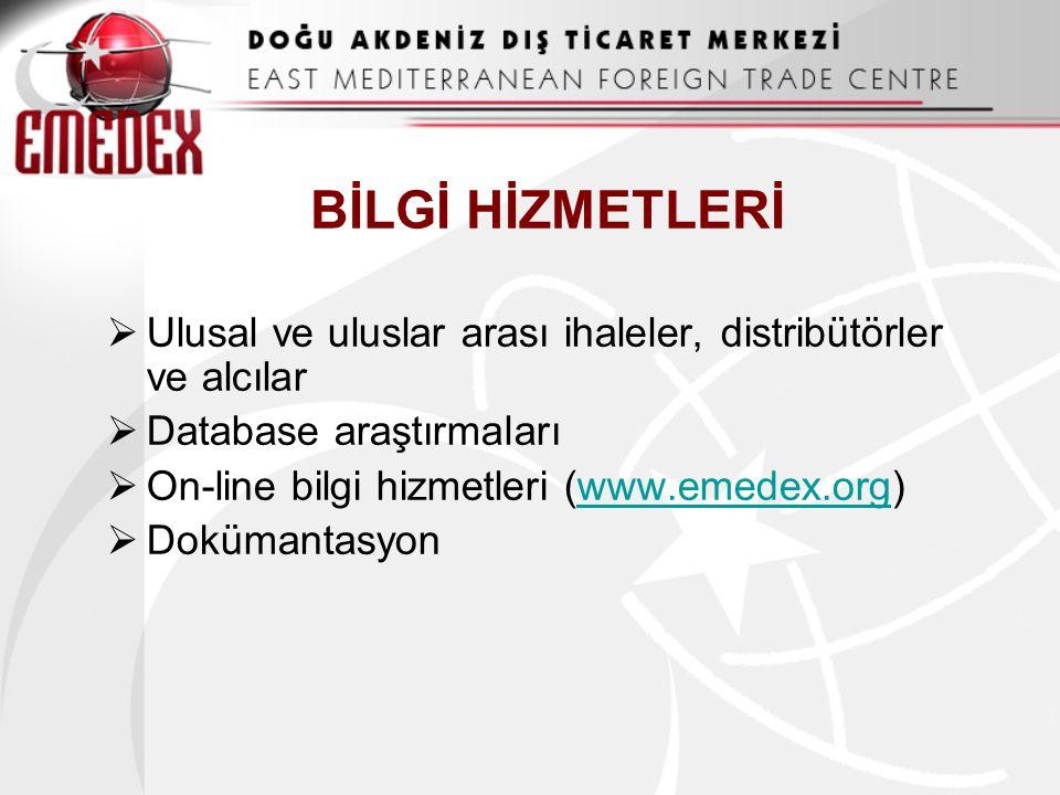 BİLGİ HİZMETLERİ  Ulusal ve uluslar arası ihaleler, distribütörler ve alcılar  Database araştırmaları  On-line bilgi hizmetleri (www.emedex.org)www.emedex.org  Dokümantasyon