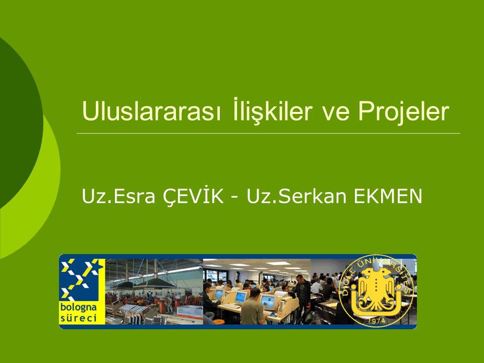 Uluslararası İlişkiler ve Projeler Uz.Esra ÇEVİK - Uz.Serkan EKMEN
