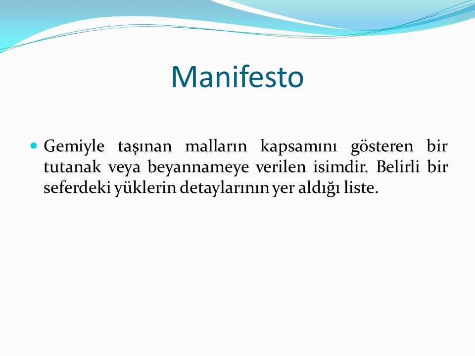 Manifesto Gemiyle taşınan malların kapsamını gösteren bir tutanak veya beyannameye verilen isimdir.