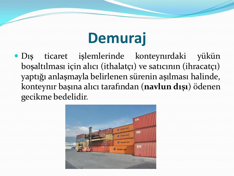 Demuraj Dış ticaret işlemlerinde konteynırdaki yükün boşaltılması için alıcı (ithalatçı) ve satıcının (ihracatçı) yaptığı anlaşmayla belirlenen sürenin aşılması halinde, konteynır başına alıcı tarafından (navlun dışı) ödenen gecikme bedelidir.
