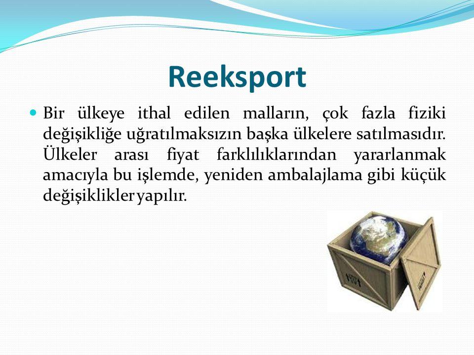 Reeksport Bir ülkeye ithal edilen malların, çok fazla fiziki değişikliğe uğratılmaksızın başka ülkelere satılmasıdır.