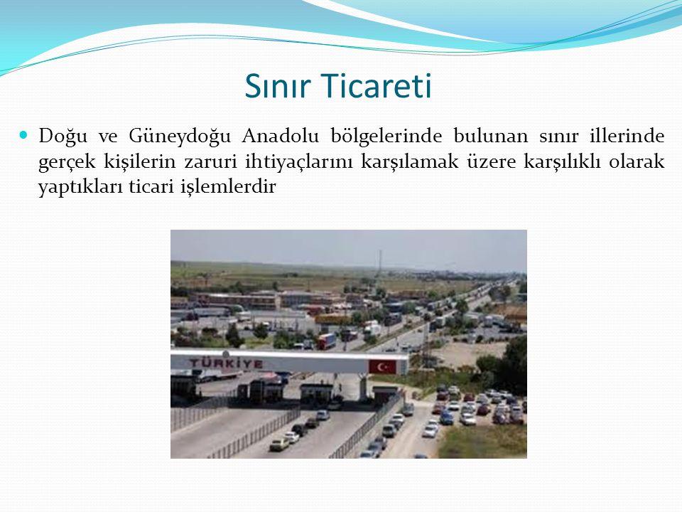 Sınır Ticareti Doğu ve Güneydoğu Anadolu bölgelerinde bulunan sınır illerinde gerçek kişilerin zaruri ihtiyaçlarını karşılamak üzere karşılıklı olarak yaptıkları ticari işlemlerdir