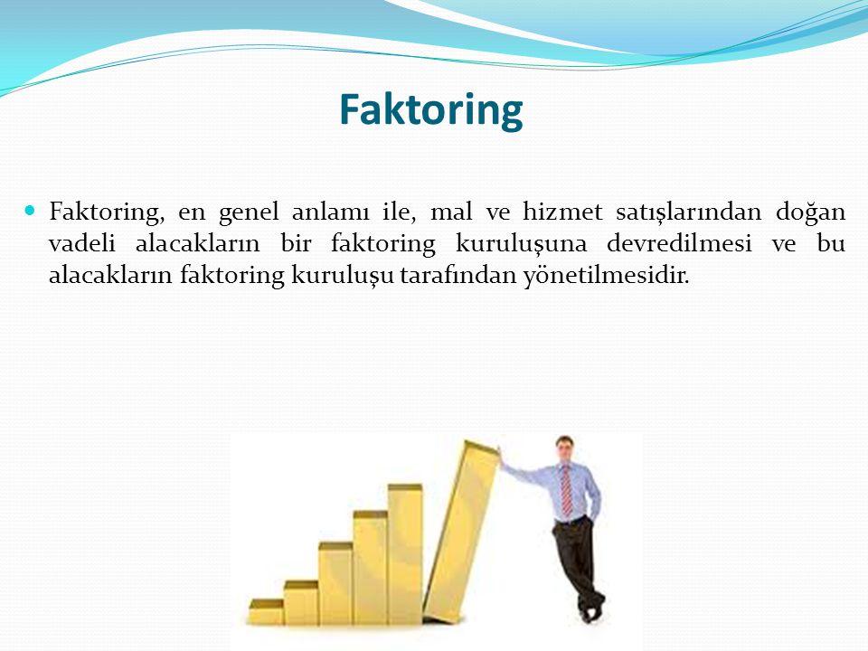Faktoring Faktoring, en genel anlamı ile, mal ve hizmet satışlarından doğan vadeli alacakların bir faktoring kuruluşuna devredilmesi ve bu alacakların faktoring kuruluşu tarafından yönetilmesidir.