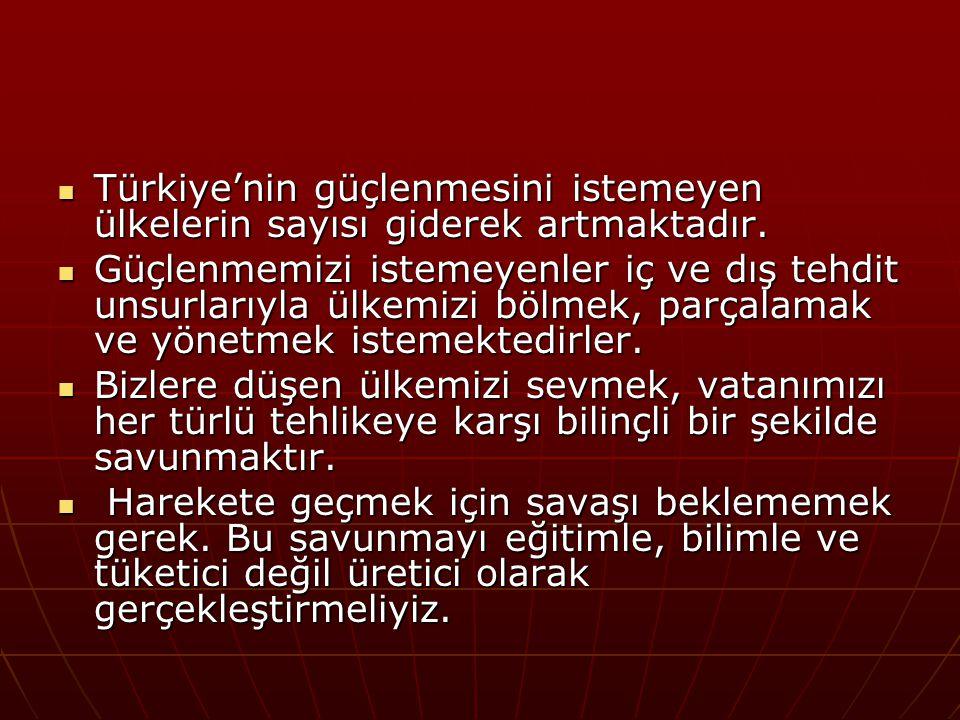 Türkiye'nin güçlenmesini istemeyen ülkelerin sayısı giderek artmaktadır. Türkiye'nin güçlenmesini istemeyen ülkelerin sayısı giderek artmaktadır. Güçl