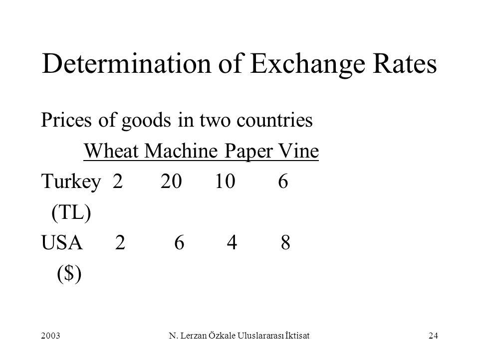 2003N. Lerzan Özkale Uluslararası İktisat24 Prices of goods in two countries Wheat Machine Paper Vine Turkey 2 20 10 6 (TL) USA 2 6 4 8 ($) Determinat