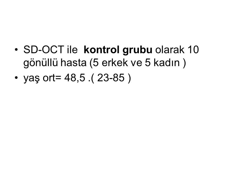 SD-OCT ile kontrol grubu olarak 10 gönüllü hasta (5 erkek ve 5 kadın ) yaş ort= 48,5.( 23-85 )