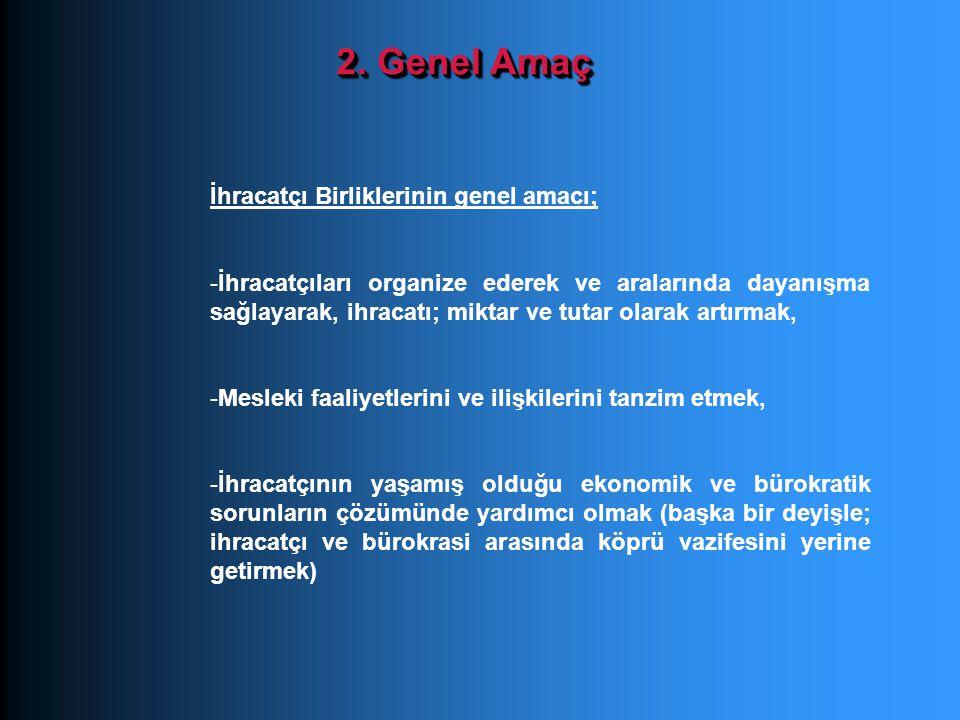 2. Genel Amaç İhracatçı Birliklerinin genel amacı; -İhracatçıları organize ederek ve aralarında dayanışma sağlayarak, ihracatı; miktar ve tutar olarak