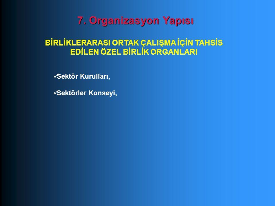 Sektör Kurulları, Sektörler Konseyi, 7. Organizasyon Yapısı BİRLİKLERARASI ORTAK ÇALIŞMA İÇİN TAHSİS EDİLEN ÖZEL BİRLİK ORGANLARI