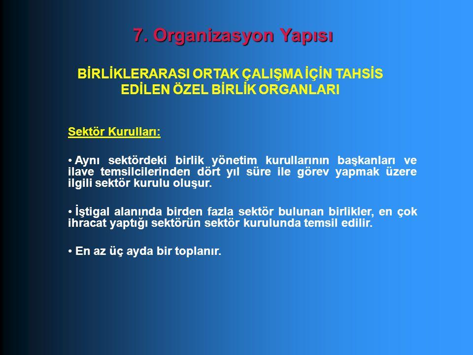 Sektör Kurulları: Aynı sektördeki birlik yönetim kurullarının başkanları ve ilave temsilcilerinden dört yıl süre ile görev yapmak üzere ilgili sektör