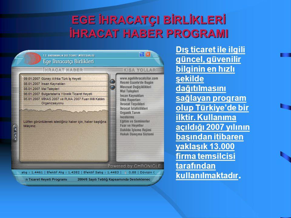 Dış ticaret ile ilgili güncel, güvenilir bilginin en hızlı şekilde dağıtılmasını sağlayan program olup Türkiye'de bir ilktir. Kullanıma açıldığı 2007